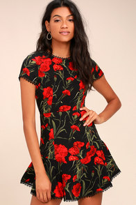 Sweet Talking Black Floral Print Dress