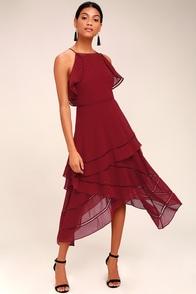 Keepsake Lovers Holiday Wine Red Midi Dress