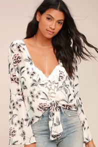 Stay Together Sheer White Floral Print Tie-Front Top