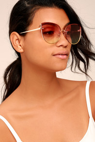 Butterfly Effect Light Gold and Orange Ombre Sunglasses