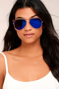 Keola Gold and Blue Aviator Sunglasses