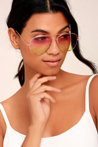 Keola Gold and Pink Ombre Aviator Sunglasses