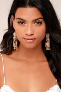 Luxe Look Gold Beaded Tassel Earrings