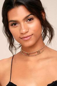 Oceana Gold and Grey Beaded Choker Necklace