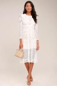 Keepsake Bridges White Lace Long Sleeve Midi Dress