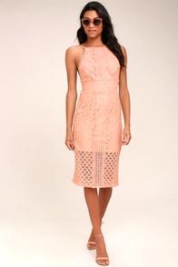 Keepsake Bridges Blush Pink Backless Lace Midi Dress