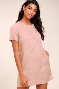Fine Finesse Mauve Pink Shift Dress at Lulus.com!