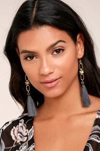 Vanessa Mooney Faith Grey Tassel Earrings
