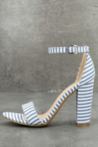 Veda Blue and White Striped Ankle Strap Heels