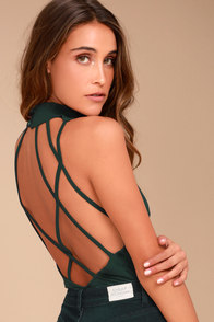 History of Time Forest Green Backless Bodysuit