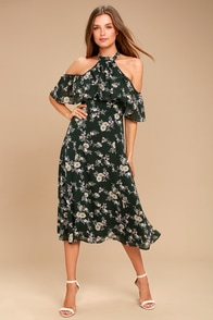 Happy with You Forest Green Floral Print Midi Dress
