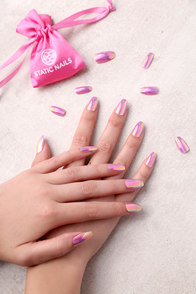 Static Nails Doll Parts Pink All In One Pop-On Manicure Kit