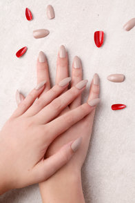 Static Nails Fireman Nude and Red All In One Pop-On Manicure Kit