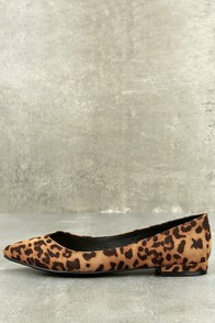 Retro Vintage Flats and Low Heel Shoes Chinese Laundry Gavin Tan Leopard Print Pointed Flats $69.00 AT vintagedancer.com