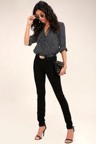 PAIGE Hoxton Black High-Waisted Skinny Jeans