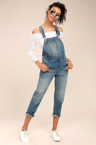 Cheap Monday Chore Dungaree Medium Wash Denim Overalls