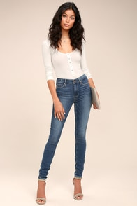 PAIGE Hoxton Medium Wash Distressed High-Waisted Skinny Jeans at Lulus.com!