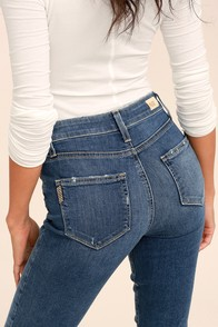 PAIGE Hoxton Medium Wash Distressed High-Waisted Skinny Jeans