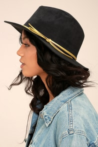 San Diego Hat Co. Seasons Black Suede Fedora Hat
