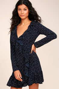 Spot On Navy Blue Polka Dot Wrap Dress