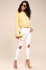 Free People High Rise Busted White Distressed Skinny Jeans at Lulus.com!