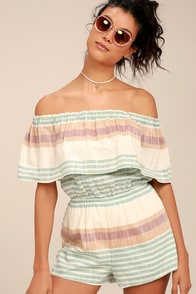 O'Neill Pearce Beige Striped Off-the-Shoulder Romper at Lulus.com!