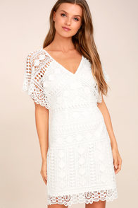 First Kiss White Lace Dress
