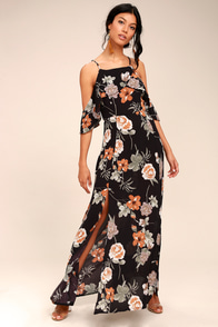Sweet Scene Black Floral Print Off-the-Shoulder Maxi Dress