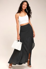 Confident Cosmopolitan Black Polka Dot Maxi Skirt