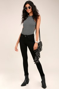 Cheap Monday Mid Skin Black Skinny Jeans