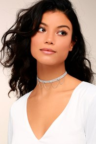 Shimmering Skyline Grey and Silver Choker Necklace