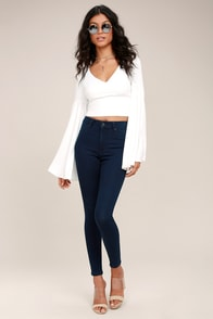 Cheap Monday High Spray Dark Blue High-Waisted Skinny Jeans