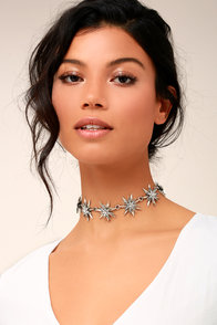Intergalactic Silver Rhinestone Choker Necklace