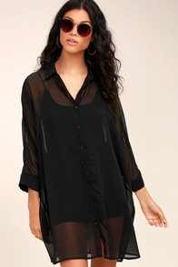 In the Tropics Sheer Black Shirt Dress