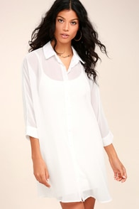 In the Tropics Sheer White Shirt Dress