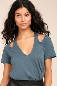 Rue Denim Blue Cutout Tee