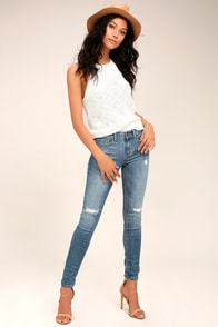 Chic For Yourself Medium Wash Distressed Skinny Jeans