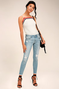 Kitty Light Wash Distressed Skinny Jeans