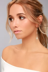 North Star Gold Rhinestone Earrings