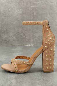 Prue Taupe Studded Suede Ankle Strap Heels
