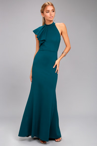 Margaux Teal Blue One-Shoulder Maxi Dress