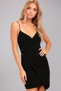 Make My Night Black Bodycon Wrap Dress