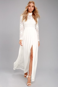 Vintage Inspired Wedding Dresses In Dreams White Long Sleeve Lace Maxi Dress $82.00 AT vintagedancer.com