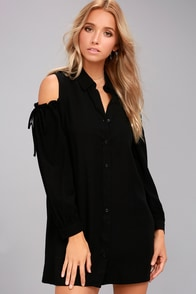 Take Care Black Cold-Shoulder Shirt Dress