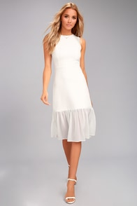 Modern Drama White Sleeveless Midi Dress