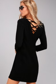 Jack by BB Dakota Luther Black Long Sleeve Dress