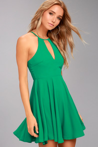 Glamorous Grace Green Skater Dress