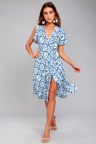 Painted Tile Blue Print Wrap Midi Dress