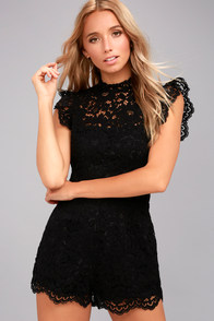 BB Dakota Priscilla Black Lace Romper