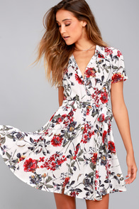Just Fleur You White Floral Print Shirt Dress at Lulus.com!